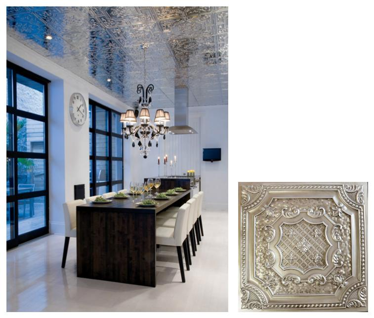 Faux Tin Ceiling Inspiration for Dining Rooms