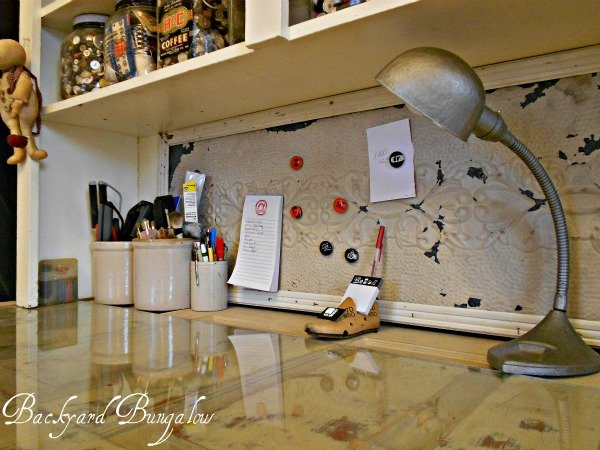 Tin Ceiling Tile Desk Backsplash