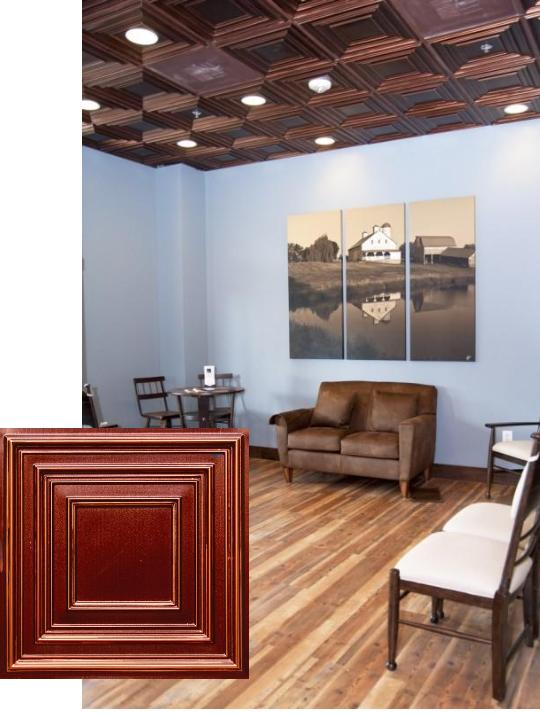 Dental Office Waiting Room Faux Copper Ceiling
