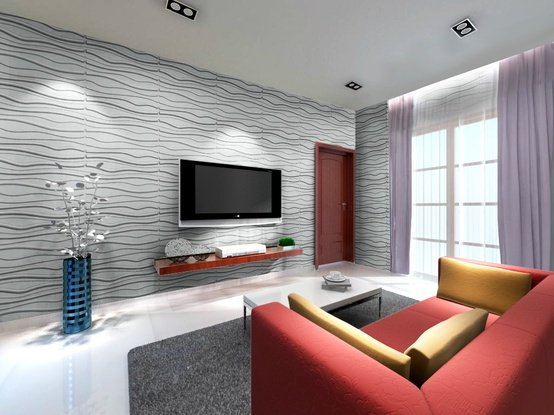 3d bamboo wall ecotiles in living room decorative for Wall tiles designs for living room