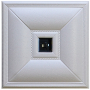 DCT LRT 11 Faux Leather Ceiling and Wall Tile - White - Smoked Mirror