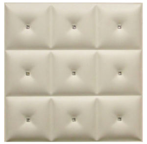 DCT LRT 19 Faux Leather Ceiling Tile - White Diamond with Crystals