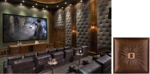 Faux leather wall panels in media room, Buckle Up - Faux Leather Ceiling Tile - #DCT LRT02