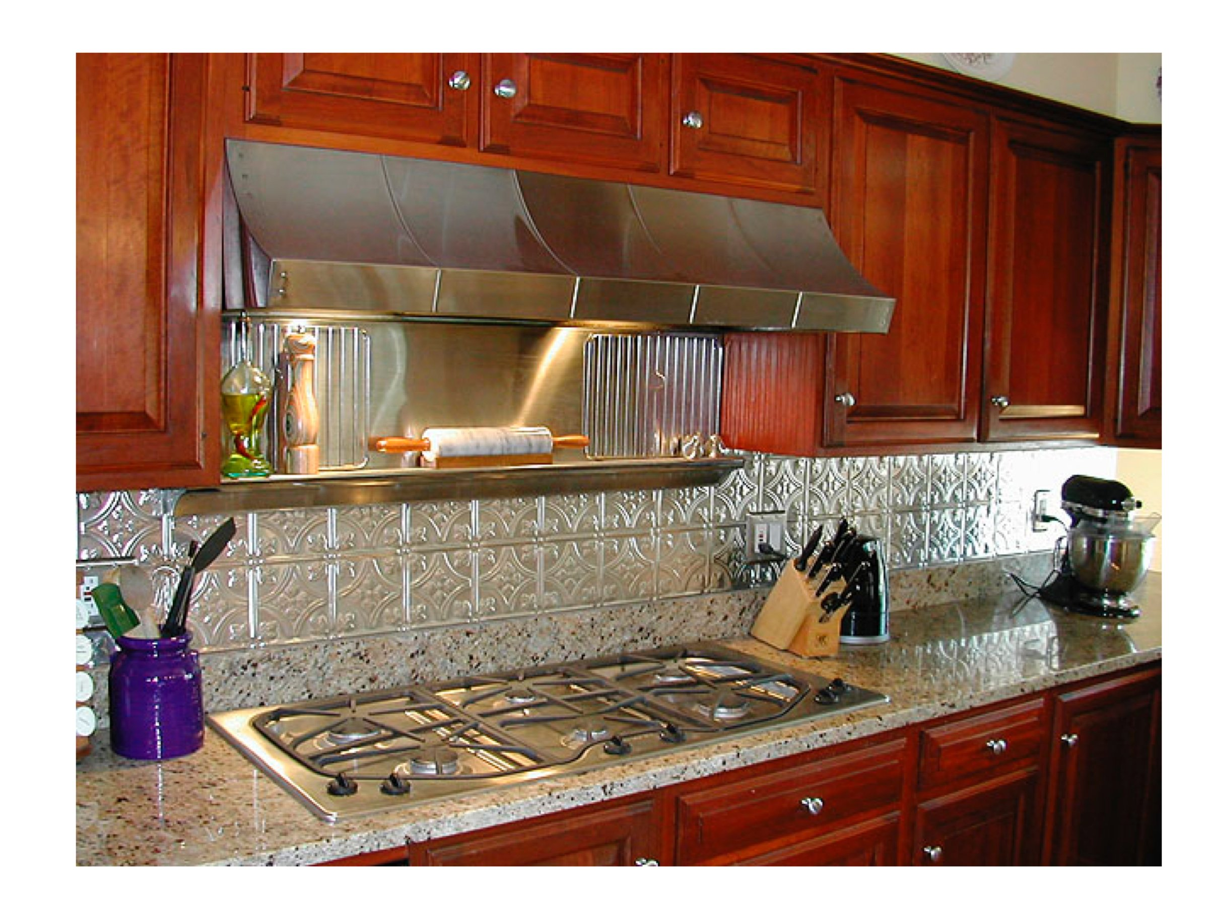 Kitchen backsplash ideas decorative tin tiles metal Backslash ideas