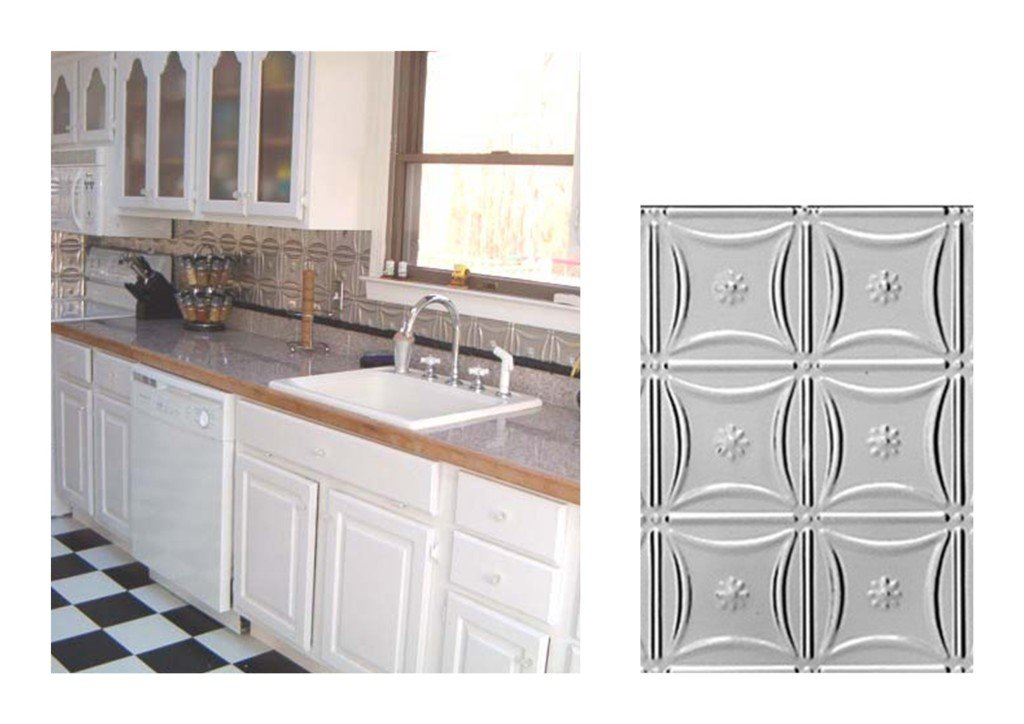 Kitchen with Delicate Daisies Metal Backsplash