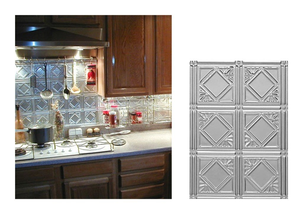 Kitchen with diamondback square metal backsplash