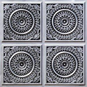 117 Antique Silver Faux Tin Ceiling Tiles