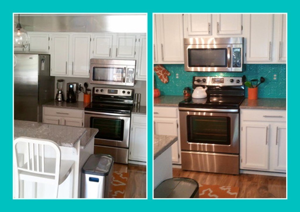 Add a Splash of Color to Your Kitchen - Before and After Kitchen Backsplash Remodel
