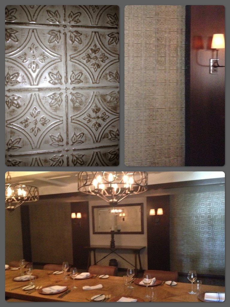 Faux tin tile walls in restaurant private dining room for Dining room tile designs