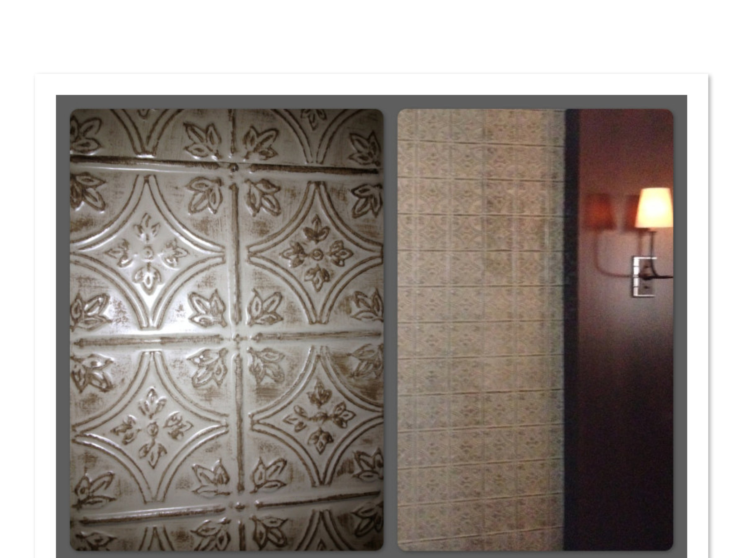 Faux Tin Tile Walls In Restaurant Private Dining Room