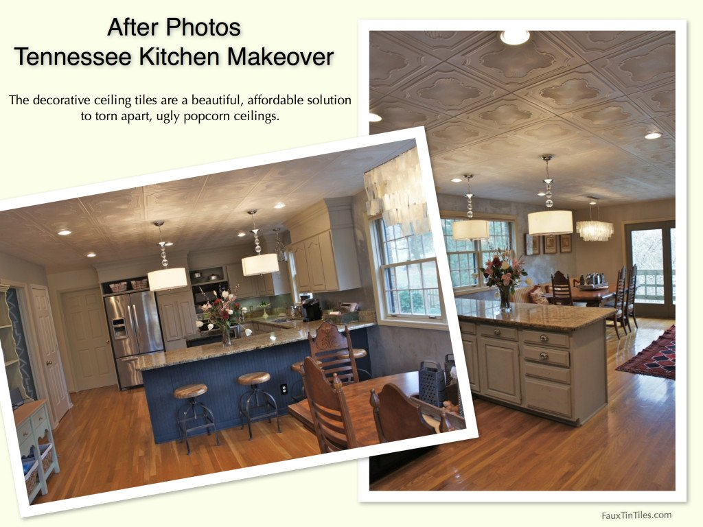 After Photos Tennessee Kitchen Makeover using Decorative Ceiling Tiles Over Popcorn Ceiling