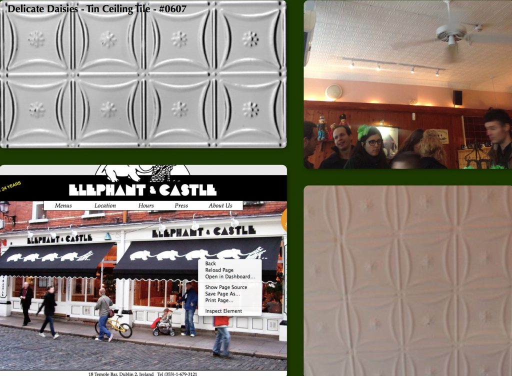 Decorative Ceiling Tiles at Elephant & Castle Restaurant in Dublin