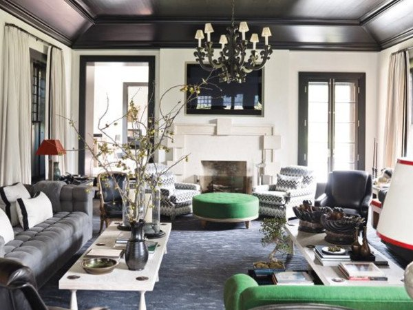 Black coffered ceilings masculine urban chic decor