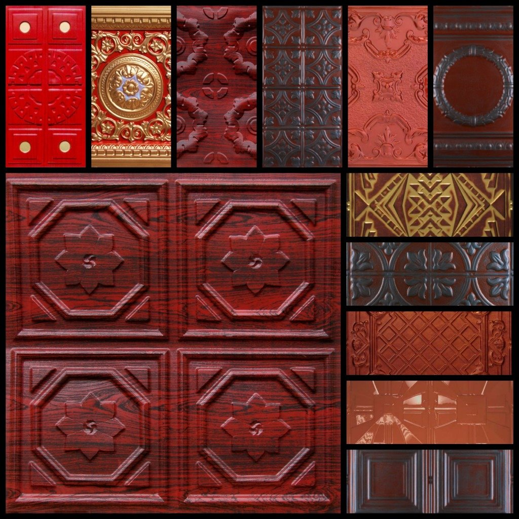 Red Tin Ceiling Tiles