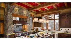 The Bear Trap Interior Kitchen with Red Tin Ceiling Tiles