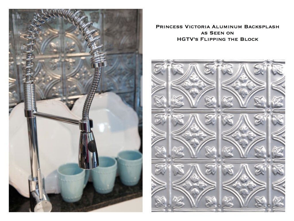 Tin Backsplash as Seen on HGTV Flipping The Block, decorative tin tile kitchen backsplash