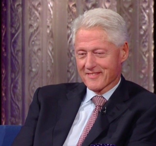 President Clinton framed by a decorative tile on The Late Show with Stephen Colbert