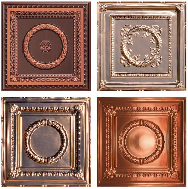 Copper Colored Wreath Style Decorative Ceiling Tiles