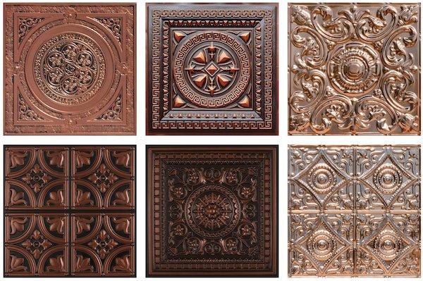 Copper and Faux Tin Antique Copper Ceiling Tiles