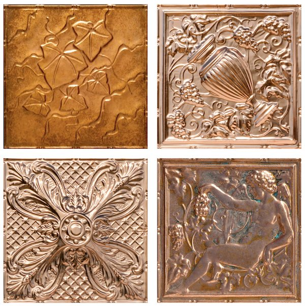 Decorative Copper and Faux Tin Antique Copper Ceiling tiles