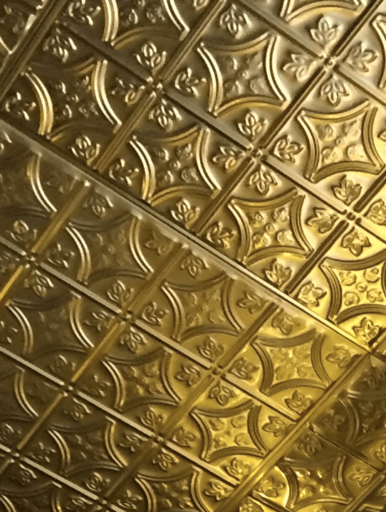 Close-up of Ceiling Tiles at White Gold Butchers in NYC