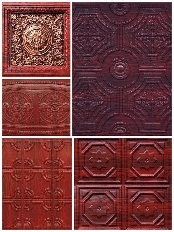 Asian Inspired Rosewood Decorative Tiles