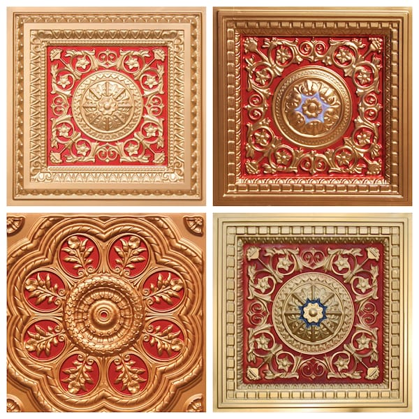 Gold and Red Decorative Ceiling Tiles, Asian influenced decorative ceiling tiles