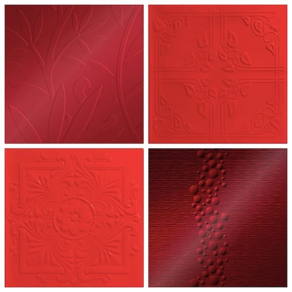 Red Decorative Tiles, Asian influenced decorative ceiling tiles